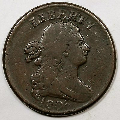 1808 C-3 Draped Bust Half Cent Coin 1/2c