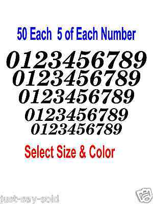 0-9 Numbers 50 ea Italic Fancy Vinyl Sticker Decals FN2 - Select Color & Size