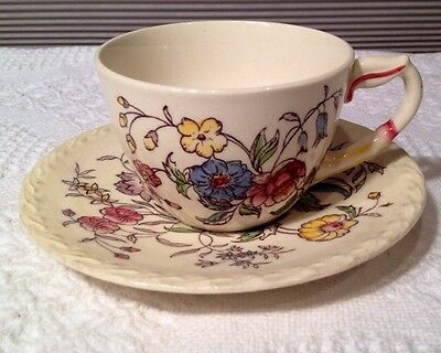 Vernon Kilns MAY FLOWER Pattern Cup and Saucer set, 1 cup 1 saucer