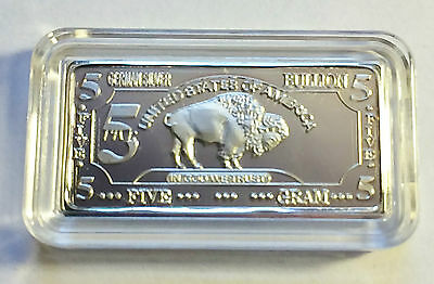 "5 Gram German Silver ""USA Buffalo"" Ingot"