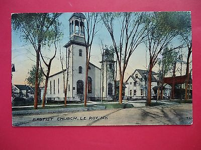 Vintage Postcard, Baptist Church, Le Roy, New York, Genesee Country 1912