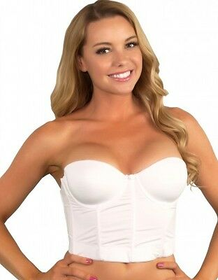 Bridal Bustier Corset Prom Shaper Longline Strapless Bra Formal Gown Push Up 800