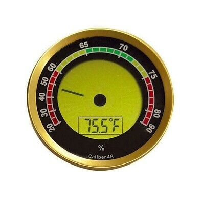 Caliber 4R Digital Hygrometer - Gold Bezel Round with Built-In Calibration