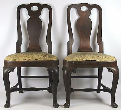 Pair Of Chairs Queen Anne-Style. Walnut Wood. Boxwood Marquetry. 18Th Century
