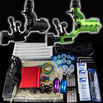 SolongTattoo Tattoo Kits 2 Dragonfly Machine Guns Power Supply Foot Pedal Needle