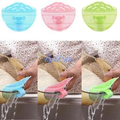 1PC Kitchen Plastic Drain Stopper Clip-on Rice Cereals Washing Filter Devices LH