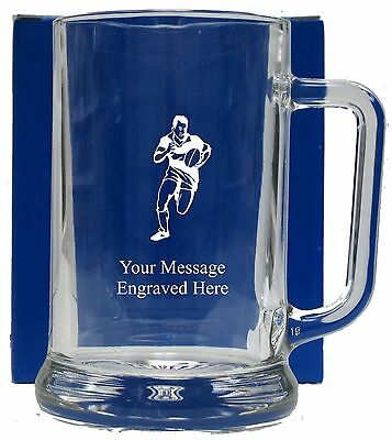 Personalised Rugby Pint Glass Tankard Birthday Free Gift Box GT1