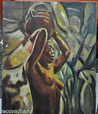 original painting nude african , antique and  signed  serious offers are welcom