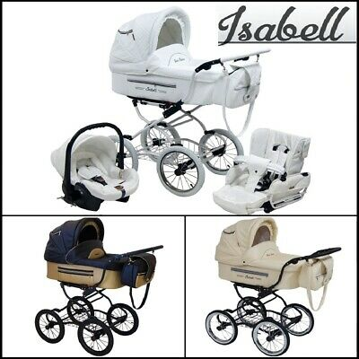 Isabell Leather Baby Retro Classic Pram Travel System + Car Seat Option