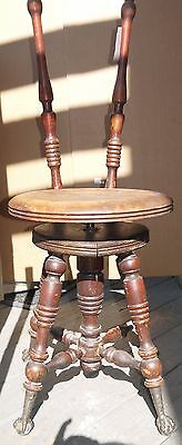 Old Fashioned Antique Vintage Wooden Piano/Organ Swivel Stool w/Claw & Ball Feet