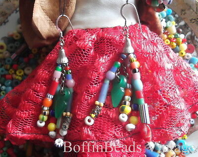 Antique tassel EARRINGS Venetian Bohemian vintage beads LONG .925 colourful Afro