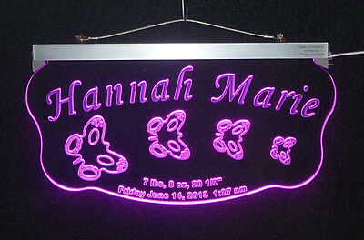 Personalized Newborn Baby LED Sign, Nursery Sign, Handmade multicolor changing