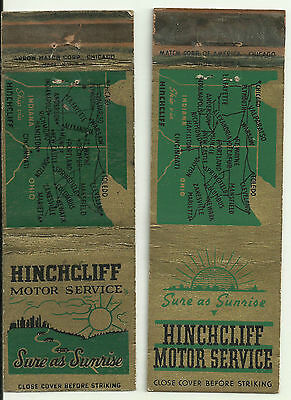 Pair of Hinchcliff Motor Service match book covers 2 different, Ohio Indiana