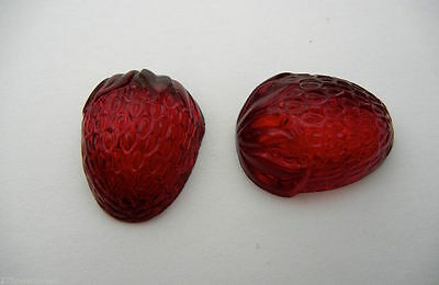2 VINTAGE West German hand made cabochons 27mm Large Strawbery Siam red, #6 ii