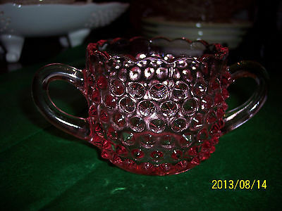 L. E. SMITH GLASS HANDMADE IN THE USA PINK HOBNAIL SUGAR BOWL WITH LABEL