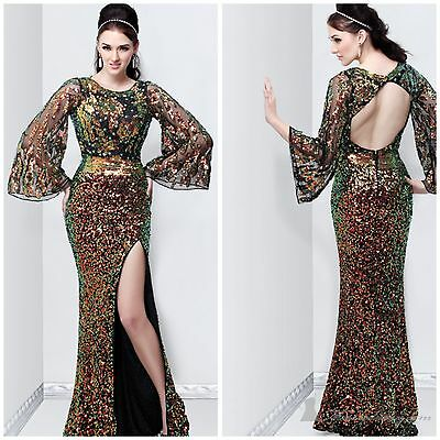 Primavera Couture long sleeve  beaded multi color  gown with  open back msrp$432