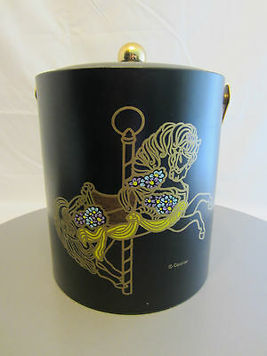 Vintage Couroc Ice Bucket - Carousel Horse - Black with Brass Hardware