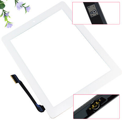 White Front Panel Touch Screen Glass Digitizer+ Home Button for Apple iPad 3