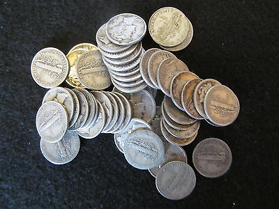 Mercury Dimes One Roll-50 Coins Average Circulated