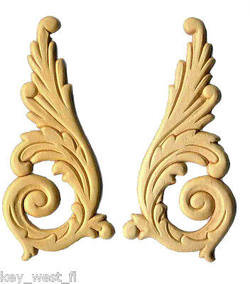 """Birch Appliques ~ Large Feathered Upsweeps ~ REAL WOOD { 6"""" x 2-3/4"""" } ~ by  PLD"""