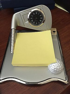 High Quality Wholesale Office Golf Gifts Notes Cards Holder W/ Desk Clock + Pen!