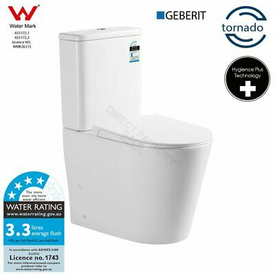 Back to Wall Toilet Suite S TRAP P TRAP White Ceramic Faced Soft Close Seat WELS