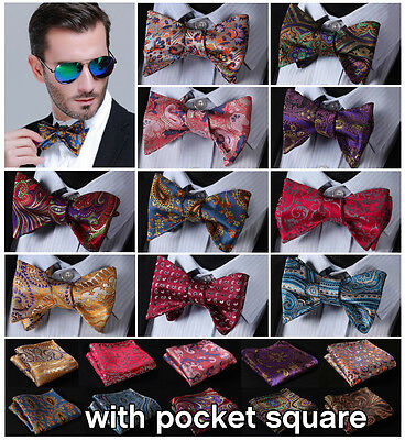 Classic Paisley Floral Men Woven Silk Wedding Self Bow Tie Handkerchief Set B4