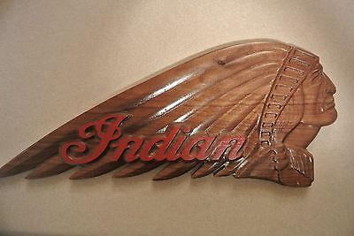 Indian Motorcycle Walnut Wood Sign Man Cave Bar Garage American Made Home Made