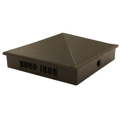 "Nuvo Iron 3.5"" x 3.5"" (nominal 4x4"") Pyramid Ornamental Aluminium Post Cap Black"