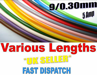 AUTO CABLE MARINE THINWALL AUTOMOTIVE ALL COLOURS SINGLE WIRING 5 Amp 9/0.30mm