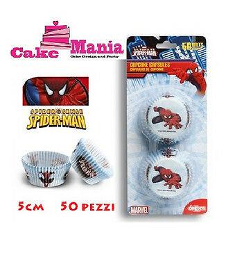 50 Pirottini Spider Man Ultimate Disney Cupcake Muffin Carta Da Forno Spiderman