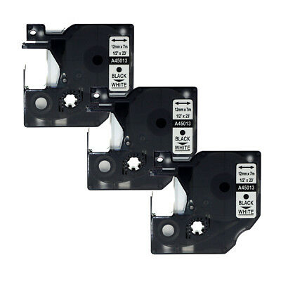 "3PK Compatible For DYMO D1 12mmx7m 45013 Label Tape Black on White 1/2"" x 23'"