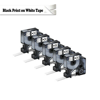 """5PK Compatible For Dymo D1 Black on White Label Tape 45013 1/2"""" W X 23' 160 450D"""