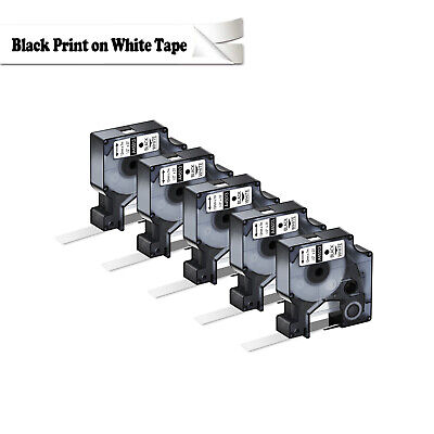 """5PK Compatible For Dymo D1 White on Black Label Tape 45013 1/2"""" W X 23' 160 450D"""