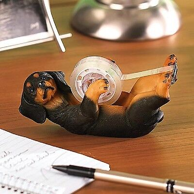 DACHSHUND TAPE DISPENSER FIGURINE DOGGY & tape PUPPY dog COLLECTOR deluxe NEW