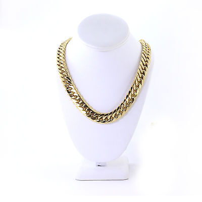 Solid Heavy Large 14K Gold Plated Stainless Steel 16.5mm Miami Cuban Link Chain