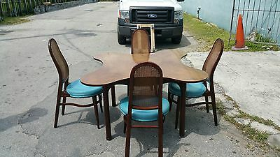 Rare Rosewood Edward Wormley Dunbar Clover Table W 4 Very Hard To Find Chairs
