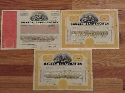 Ronson Corporation Stock 3 Certificate Lot Share 1966/1965/1992