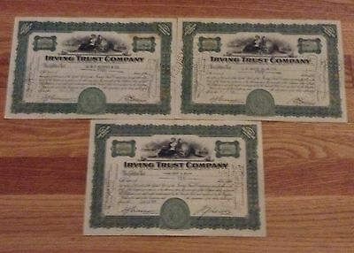 Irving Trust Company Stock 3 Certificate Lot Share