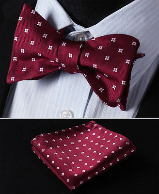BF115R Red Floral Men Woven Silk Self Bow Tie Pocket Square Set