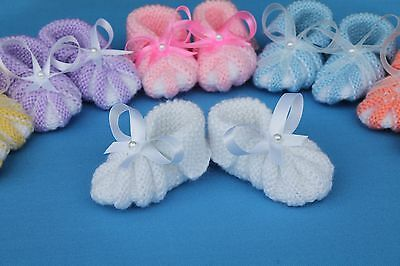 Handmade Knitted Baby Booties, US Shoe Size (Baby & Toddler) 0,Unisex, White