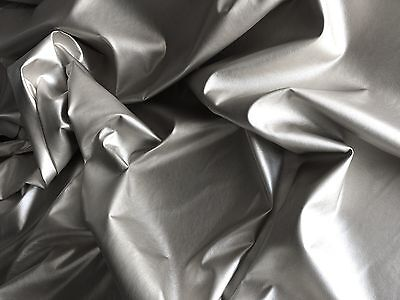 Silver Dress Clothing Faux Leather Leatherette Lycra Stretch Fabric Pvc Material
