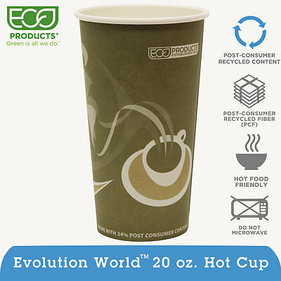 Evolution World 24% PCF Hot Drink Cups, 20oz, Gray, 50/Pack