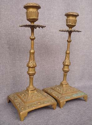 "Pair of antique candelsticks, 19th century, France, 10"" tall, bronze"