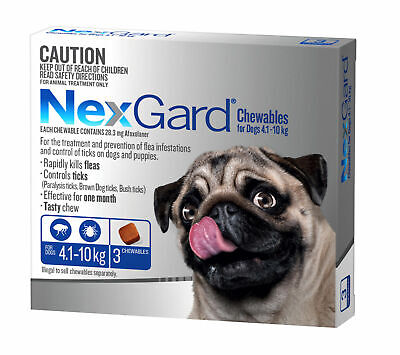 Nexgard for Dogs Flea and Tick Control - 4.1-10KG - Blue 3 Pack