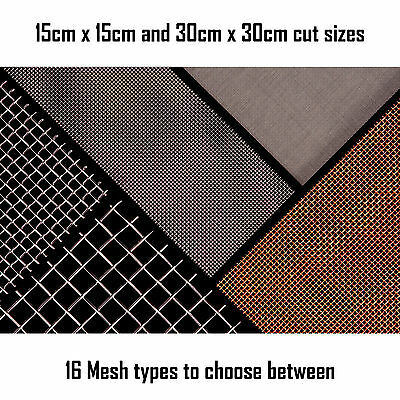 Woven Wire Mesh Sheet, 15cm and 30cm square. Fine Screen - Heavy Duty Coarse