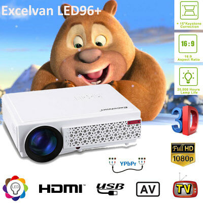 5000 Lumen 1080P Full HD LED Projector Home Theater 3D HDMI USB ATV Multimedia
