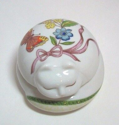 White Cat Trinket Box Ceramic Porcelain Lidded Floral Design Prestige