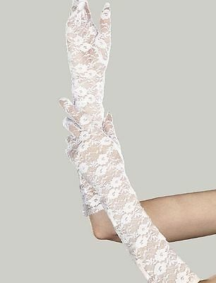 """Dreamgirl Opera Length """"Lacey"""" Gloves-White"""