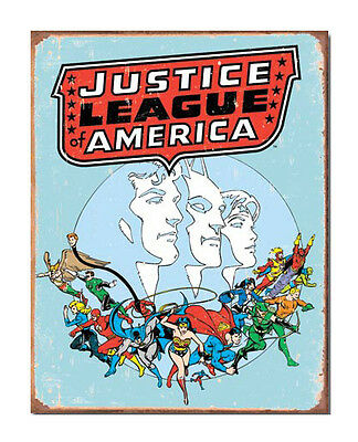 DC Comics A3 Retro Tin Metal Sign JUSTICE LEAGUE OF AMERICA 41x32cm Licensed